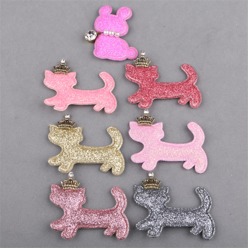 50PCS Christmas Glitter Animal Cat with Gold Princess Cown Button Patch for Girls Hair Jewelry Headband DIY Accessory Stickers