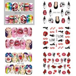 Image 5 - 9pcs Sexy Girl Lips Slider Water Decals Nail Sticker Water Transfer Tattoo Wraps Adhesive Tip Manicure Decoration JISTZ756 765