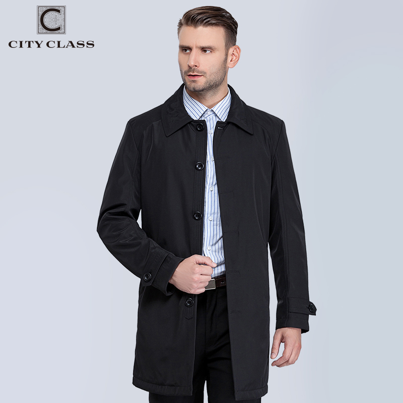 CITY CLASS Autumn Classic Men Trench Fashion New Coats Casual Fit Turn-down Collar Jackets Coats Cool For Male 1061-1