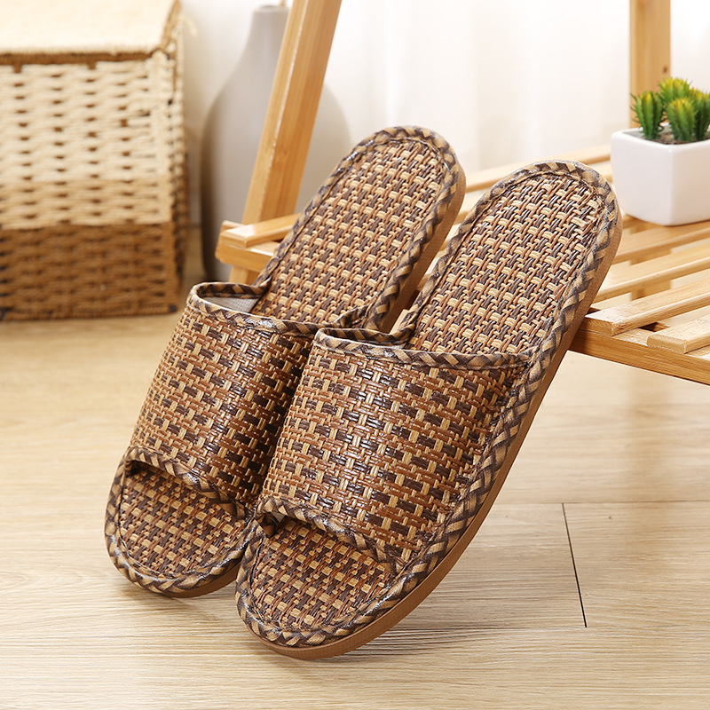 36-45 Natural tropical royal rattan home slippers, bamboo rattan cane grass weaving women with household slippers shoes 2018 natural tropical royal cane couple home slippers rattan straw weave female slippers bamboo rattan summer slippers