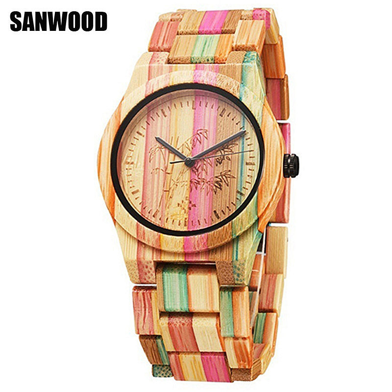 2017 SANWOOD Fashion Bamboo Nature Wood Watch Unisex Casual Quartz-watch Wooden Strap Creative Wooden Wristwatch Cool Lover Gift creative wooden bamboo wrist watch genuine leather band strap nature wood men women quartz casual sport bangle new arrival gift