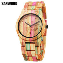 2017 SANWOOD Fashion Bamboo Nature Wood Watch Unisex Casual Quartz-watch Wooden Strap Creative Wooden Wristwatch Cool Lover Gift