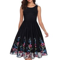 Summer Black Vintage Dress Women Sleeveless Mesh Embroidery Flower Sexy A Line Elegant Pleated Sweet Chic Party Dresses Female