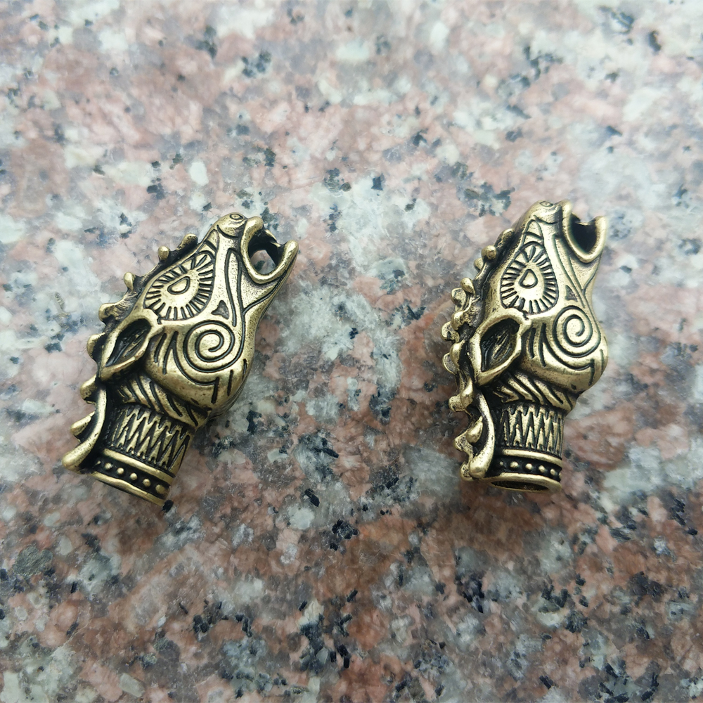 2PCS Viking Beads For Women Viking Dragon Head Beads For Necklace DIY Jewelry Beads for Men Cetilcs Jewelry bison rolling grill