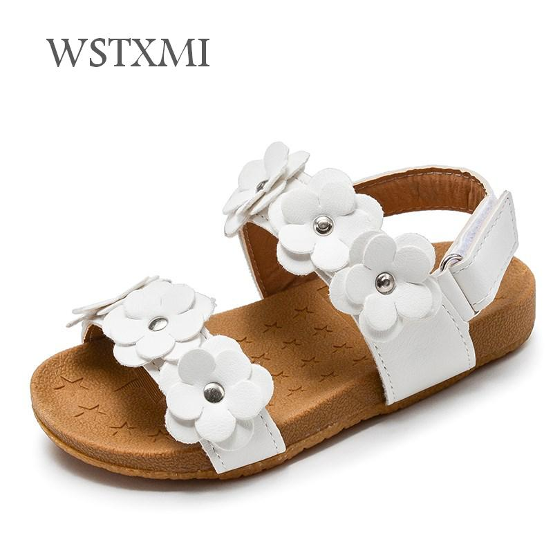 2019 Summer Kids Sandals For Girls Baby Sandals Soft Leather Flowers Princess Girls Shoes Children Beach Sandals Toddler Shoes