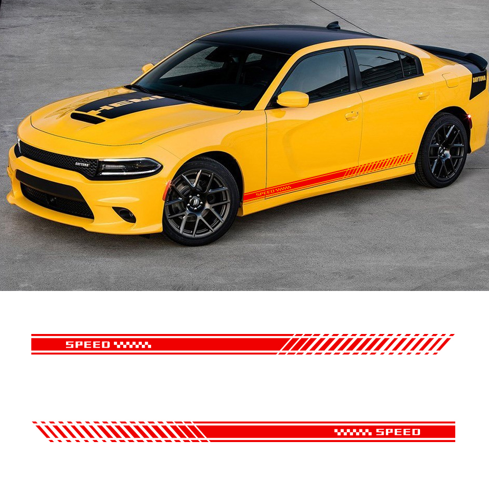 Für Dodge Challenger Durango SRT Viper Ladegerät Reise Auto Seite Rock Streifen Fahrzeug Taille Linie Aufkleber Decals