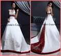 2015 amazing lace embroidery a line halter neck red white wedding dresses sation chapel train amazing bridal gowns