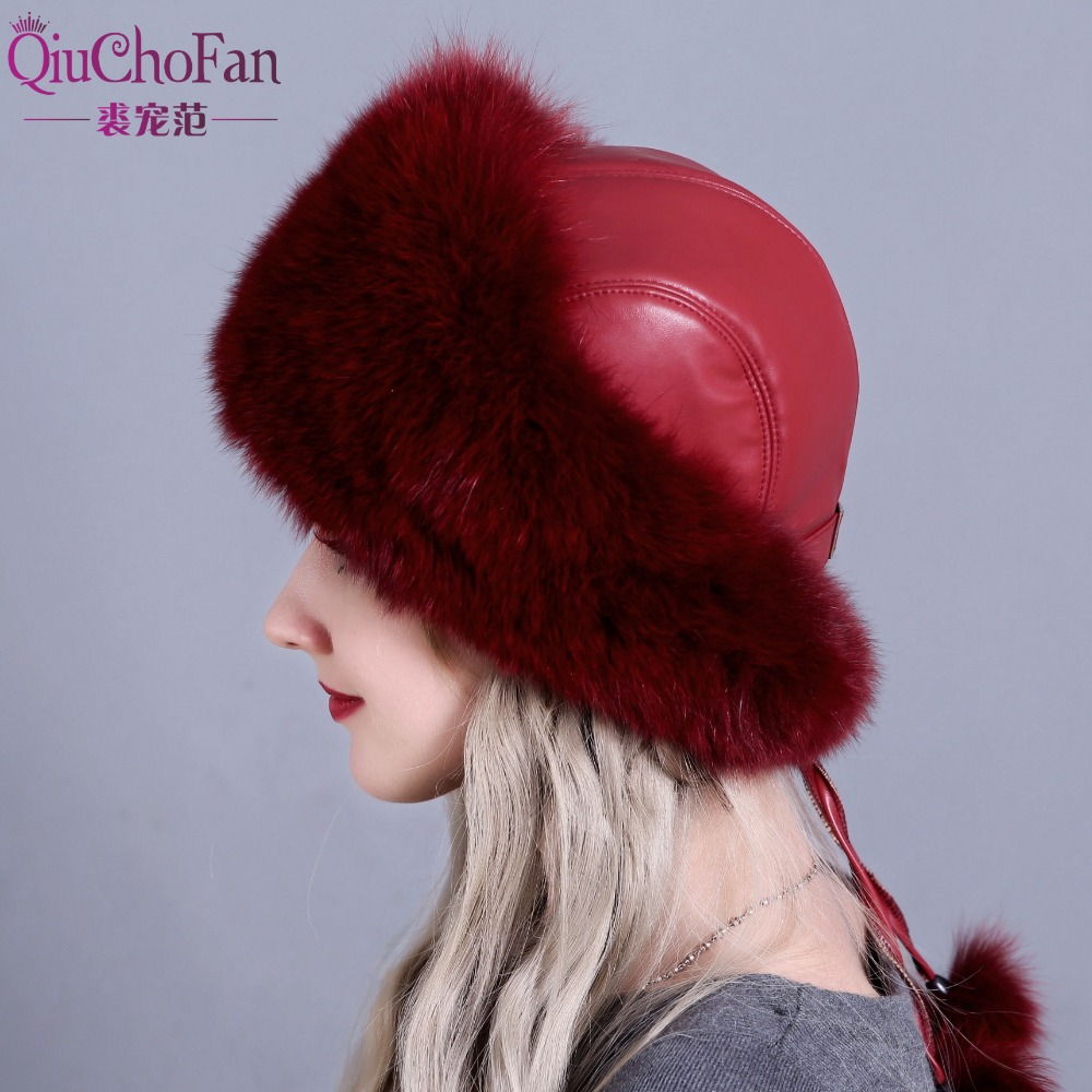 Women s Winter Hats Genuine Fox Fur Rabbit Fur Hat with 2 Pompons Whole Fox Tail