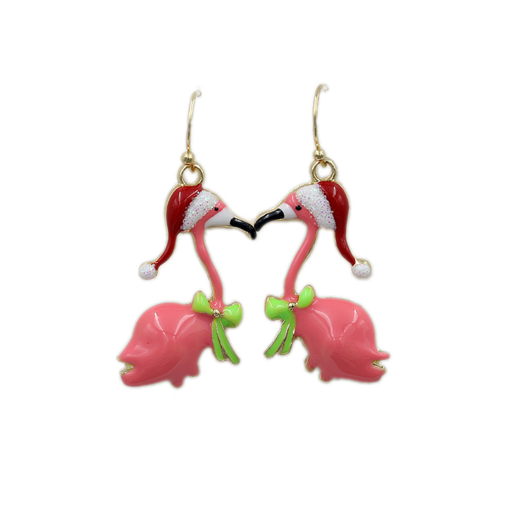 Earrings Swan-Crane Christmas Pink Women Fresh And Small Popular Lovely