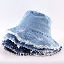 Summer Washed Denim Sun Hat Women Fashion Tassel Floppy Cap Ladies Wide Brim Beach Bucket Hats Female Cotton foldable Chapeu