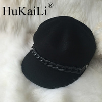 The New Spring 2017 Small Octagonal Cap Baseball Cap Hat Black Men And Women Chain Cloth