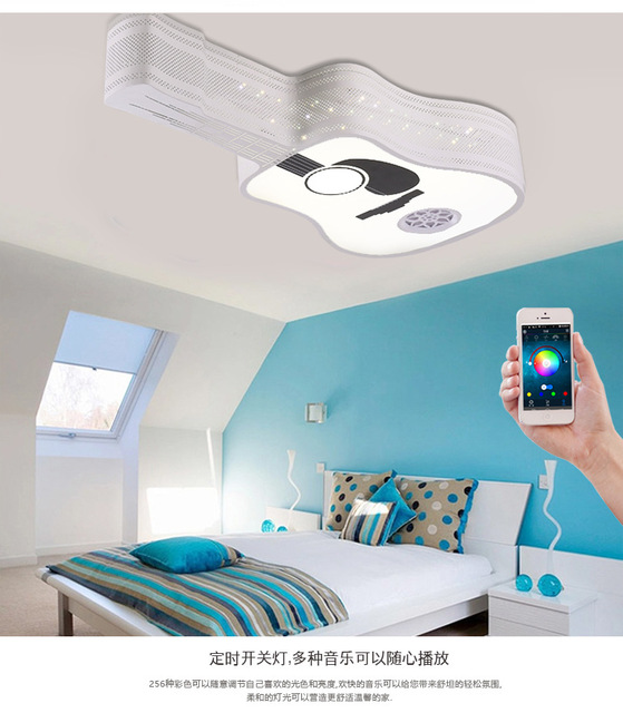 Morden smartphone led ceiling lights with bluetooth controlled morden smartphone led ceiling lights with bluetooth controlled creative guitar shape led ceiling lamp home decor aloadofball Choice Image
