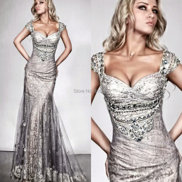 Sexy Evening Dresses With Cap Sleeves Silver Lace Mermaid Formal