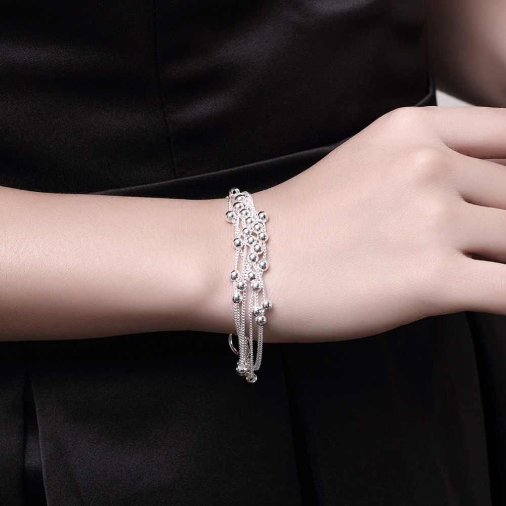 925 Silver Bracelets 6line Light Bangle Silver Chain Bracelet 6Layer Chain Link Bracelet Female 2018 For Women Men Bracelet 20cm