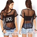 Plus Size Novo 2016 verão mulheres carta impressão gaze t camisa topos transparentes sheer t-shirt tee de manga curta preta XL T5252