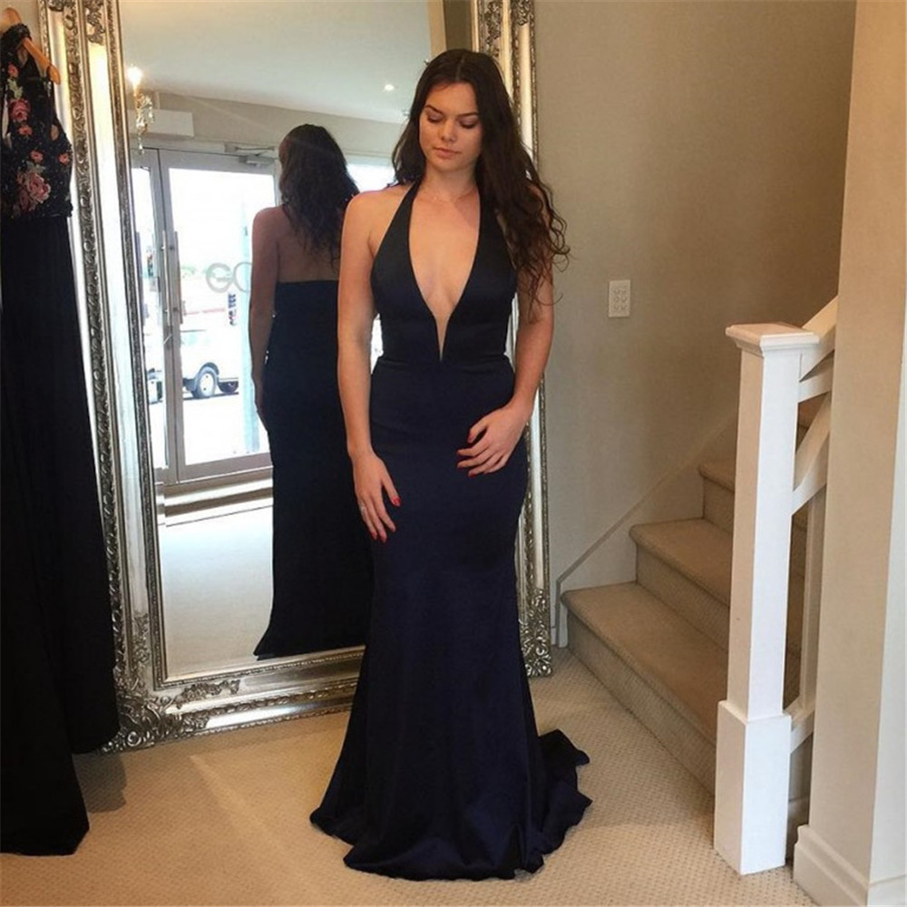 High Quality Halter Backless Black Long Wedding Party   Dress   2019 Elastic Satin Floor Length Elegant   Bridesmaid     Dresses   Cheap