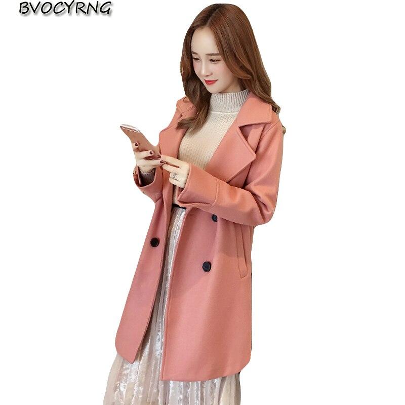 Plus Et Vestes Coréenne Pink Laine Automne Mode Nouvelle Loisirs Longue Veste Manteau D'hiver Femmes La Parka De 2018 Taille 5q7xITSw