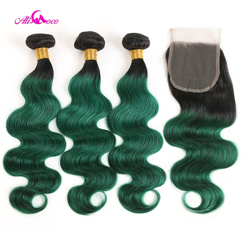 Ali Coco 1B Green Color Brazilian Body Wave Hair 3 Bundles With Closure 10-30 Inch Remy Human Hair Bundles With 4x4 Lace Closure