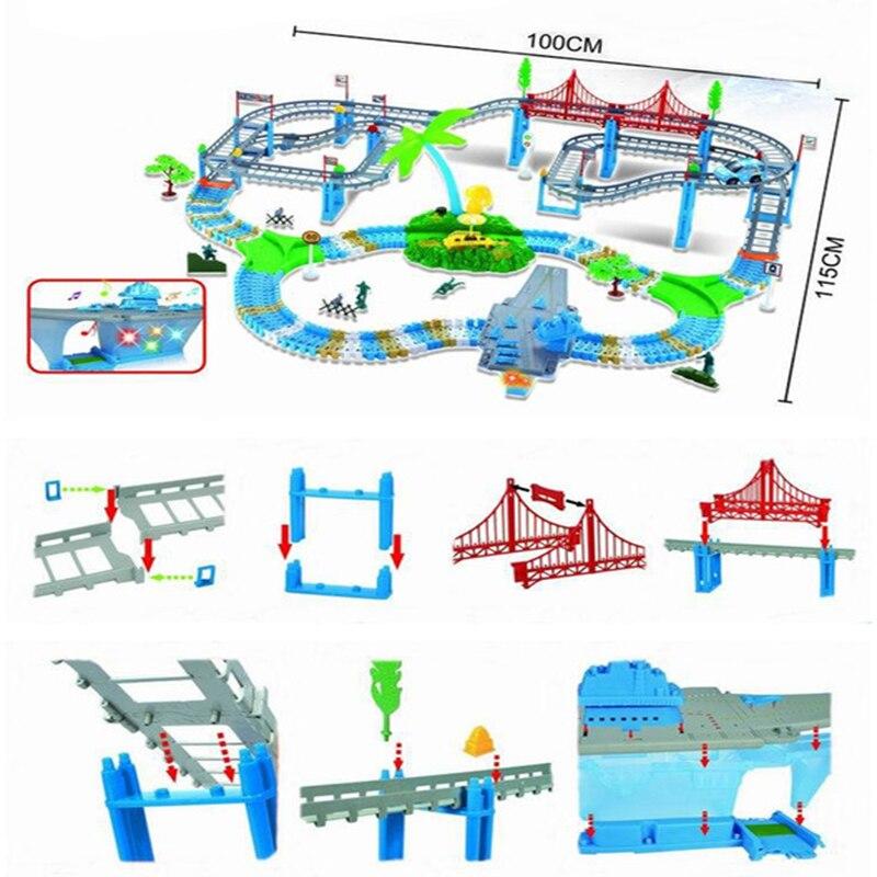 2019 nouveau jouet de voiture de Rail électrique voiture de course orbite bricolage voie de transport assembler des blocs de construction cadeau d'anniversaire jouet pour les enfants