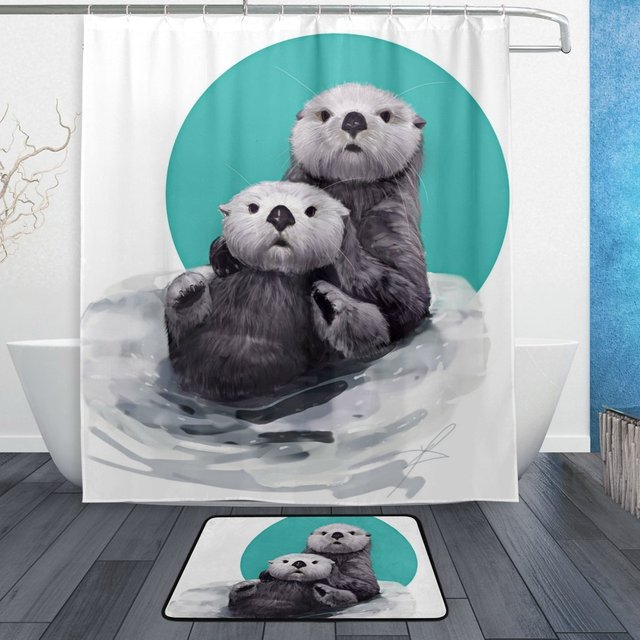 Funny Animal Otter Shower Curtain And Mat Set Cute Watercolor Waterproof Fabric Bathroom