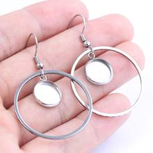 reidgaller 10pcs stainless steel fit 10mm 12mm cabochon earring base blanks with hoop circle charms diy jewelry bezel settings цены онлайн