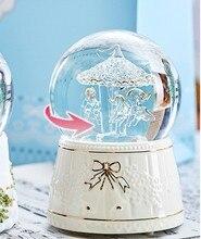 Рождественский подарок снежный хрустальный, круглый шар музыкальная шкатулка, деревянные Bluetooth колонки