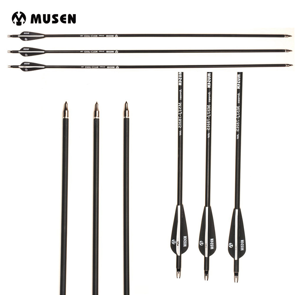 Carbon-Arrow Recurve Bow Shooting Spine 500 24pcs For Archery 28/30/32-inches Mixed Diameter-7.8mm