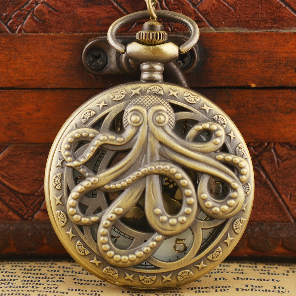 Nostalgic Punk Style Pocket Watch Vintage Steampunk Retro Bronze Design Pocket Watch Quartz Pendant Necklace Gift