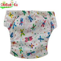 Okbabyha Cloth Daiper Washable Baby Training Pants Bamboo Cloth Diapers Adjustable Baby Potty Training Pants Reusable