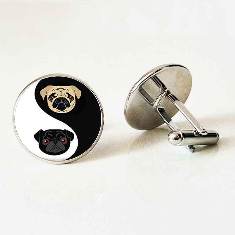 Yinyang Pug Glass Cufflinks Black And Tan Bulldog Dog Jewelry Gift For Pag Lovers Rescue Jewelry Men Cufflinks