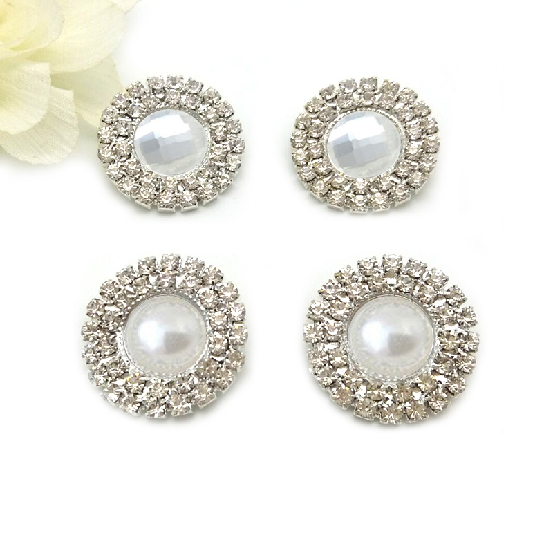 25mm Clear,pearl center 2 Rows Of Clear Rhinestones shannk Rhinestone button Embellishments For DIY Bling Accessor RMB033