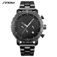 SINOBI Aço Inoxidável Relogio masculino Relógios dos Esportes dos homens Espionar Preto Chronograph Quartz Relógio de Pulso À Prova D' Água L94