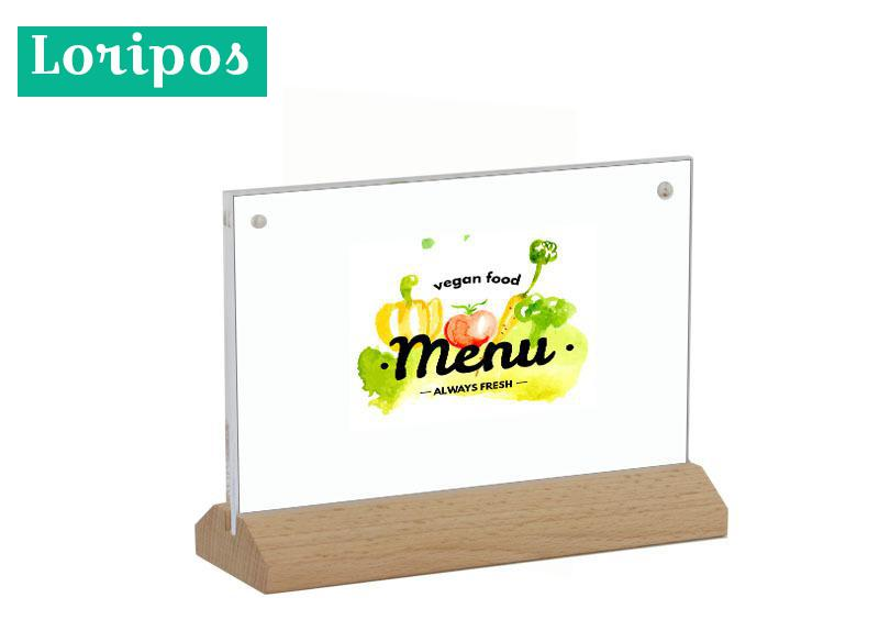 Desk Accessories & Organizer Steady A4 Horizontal Wood Menu Card Stand Photo Frame 297*210mm Paper Sign Holder Desk Label Holder Acrylic Price Card Display Rack