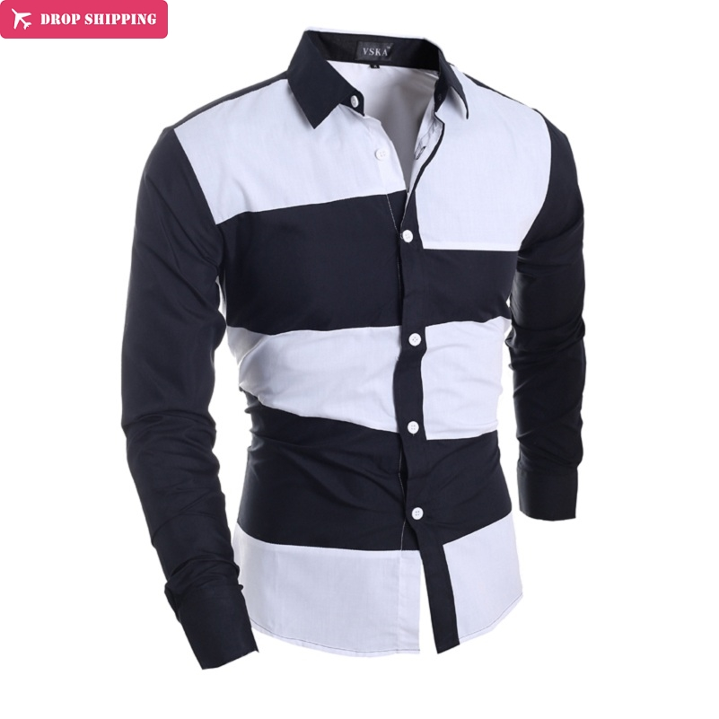 WSGYJ brand of high quality cotton men 39 s shirt with long sleeves male leisure business shirt splicing male dress shirt camisa in Casual Shirts from Men 39 s Clothing