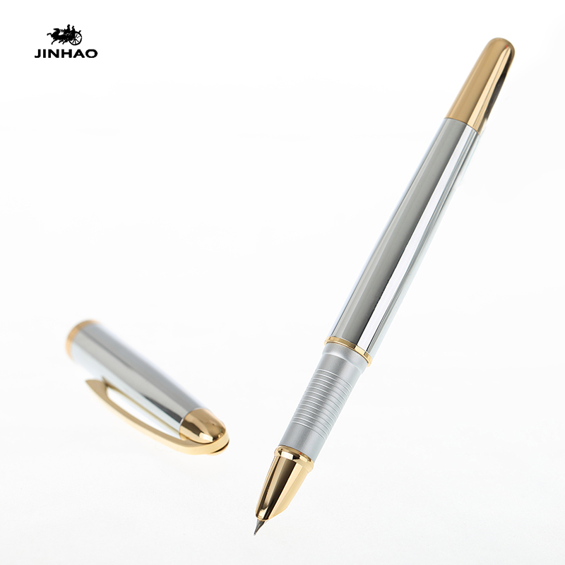 Jinhao 606 Pure Silver and Gold Clip Fountain Pen with 0.38mm Extra Fine Nib Luxury Metal Inking Pens for Writing Free Shipping