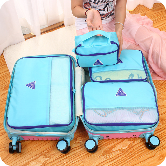 4 Pieces Lot Travel Luggage Organizer Bag Insert Clear Waterproof Mesh Pink