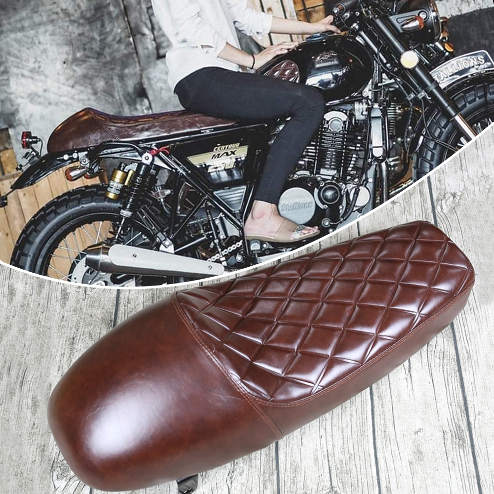 Motorcycle Seat Cushions 1pc Universal Vintage Hump Motorcycle Custom Cafe Racer Seat Brown Motorcycle Saddle Covers