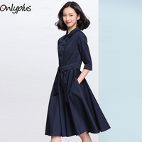 Onlyplus Autumn Vintage Women Dress 3/4 Sleeve A Line Office Lady Slim Elegant OL Dress Business Laides Solid Belt Vestidos