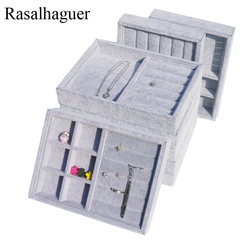 New Storage Trays Gray Soft Velvet Jewelry Packaging Display Jewelry Box Earrings Necklaces Pendants Organizer Tray Holder Case
