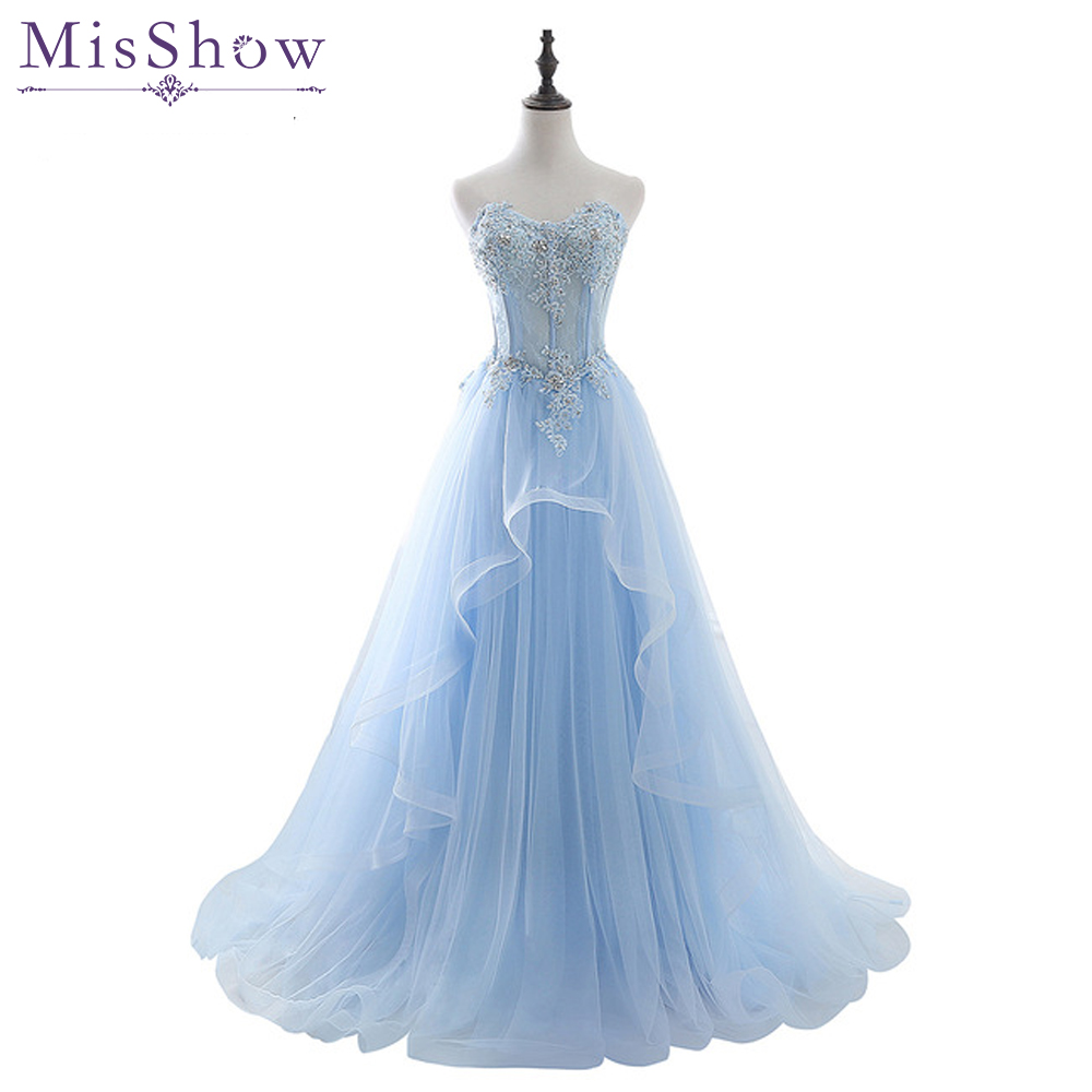 Vestido De Festa Light Blue Sweetheart Neck Lace Tulle Long Evening Dress 2018 Party Sexy Backless Prom Dresses Formal Gown