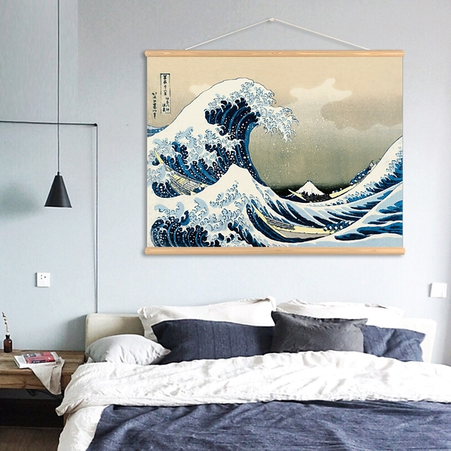 Japanese Art Living Room: Japan The Great Wave Of Kanagawa Scroll Painting Art Home