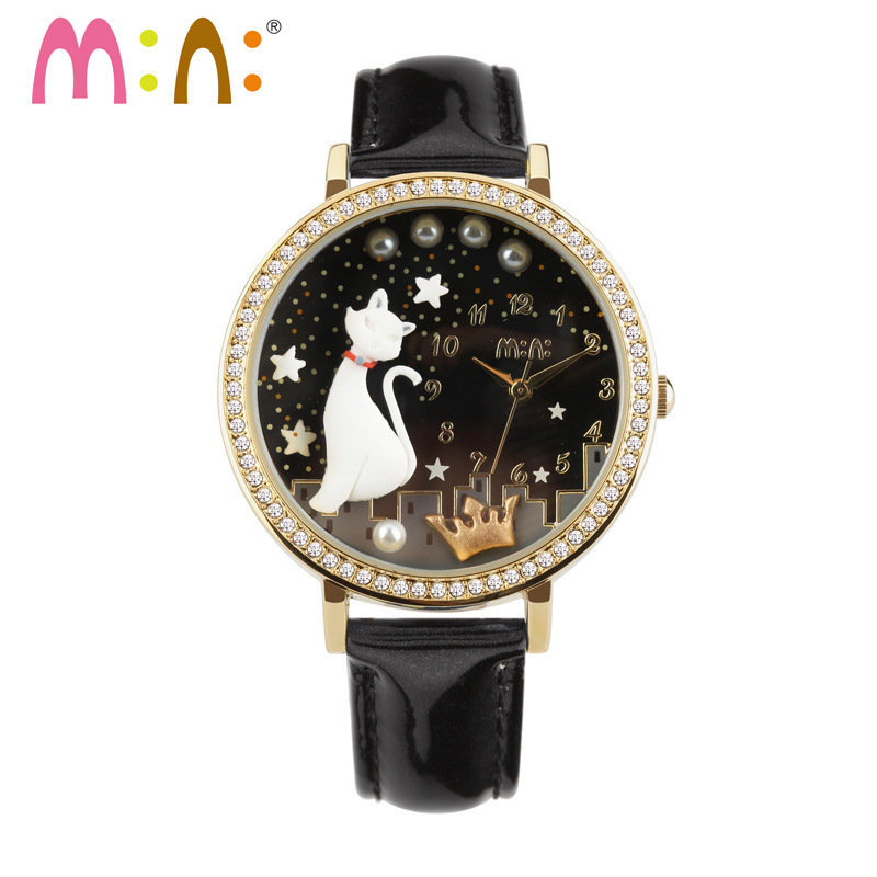 Reloj Mujer M:N: Women Watches Waterproof Ladies Handmade 3D Cat Gold Silver Quartz Wrist Watch Fashion Clock Relogio Feminino sinobi rose gold luxury wrist watch clock women reloj mujer ladies quartz watch women waterproof relogio feminino 2017 with date