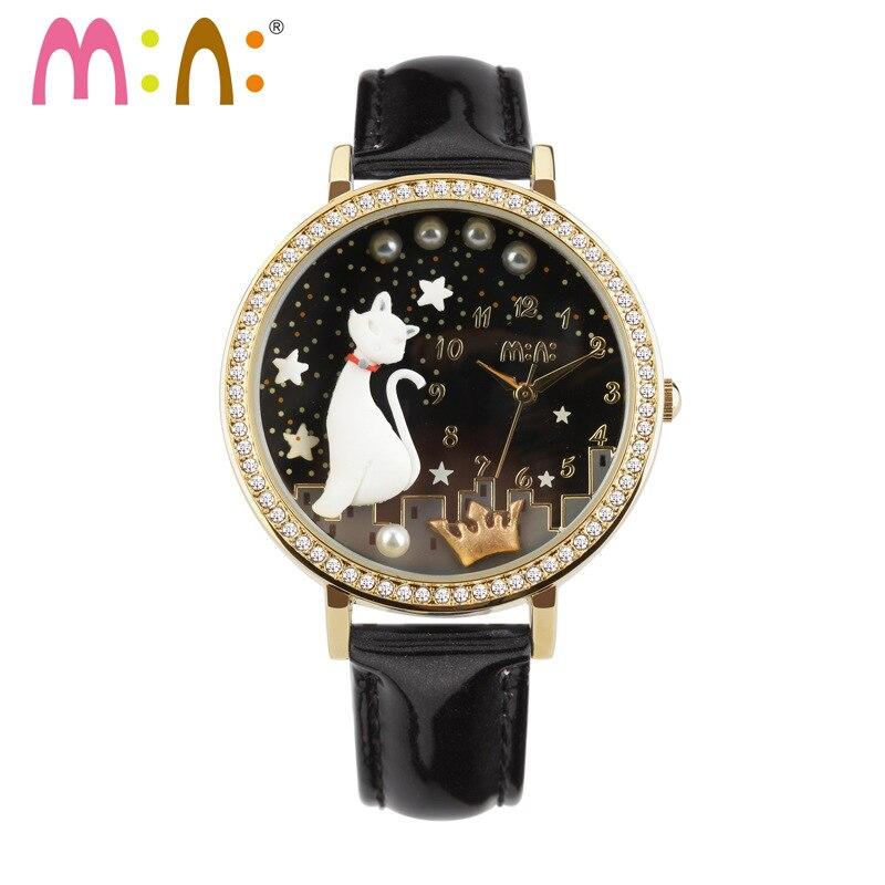 Reloj Mujer M:N: Women Watches Waterproof Ladies Handmade 3D Cat Gold Silver Qua