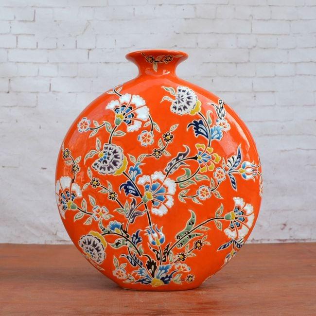 Tao Caicai, European style sculpture ceramic flower porcelain ornaments small orange Home Furnishing flat bottle of soft decorat