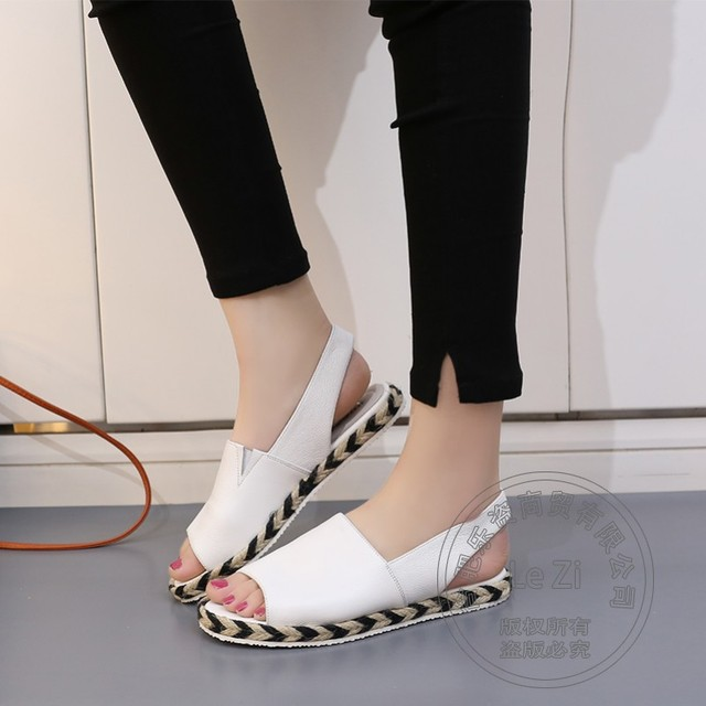 Non Slip Solid Espadrilles Soft Leather Women Flat Shoes Cutwork Woman Shoes Designer Cowhide Soft Short Young Girl