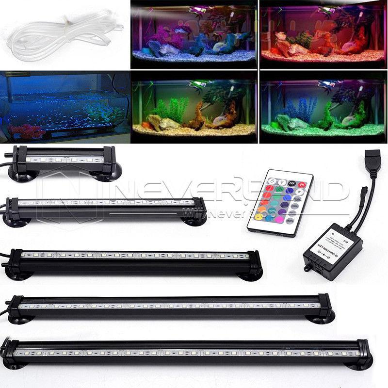 US AU EU Plug 12-46CM 5050 RGB <font><b>LED</b></font> Aquarium Fish Tank Submersible <font><b>Light</b></font> Air Bubble Lamp Remote New
