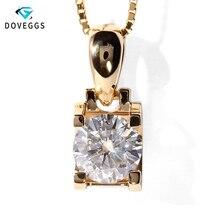 DovEggs Подлинная 18K 750 желтое золото 1 карат F цвет Moissanite горка кулон ожерелье для женщин Свадьба