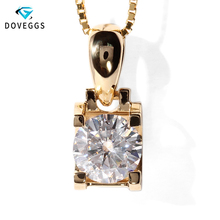 Real 18K 750 Yellow Gold AMAZING 1 Carat ct F Color Lab Grown Moissanite Diamond Pendant &Necklace For Women