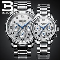 Genuine Luxury BINGER Brand Men Women Lovers couple automatic mechanical self wind watch casual waterproof leather strap table