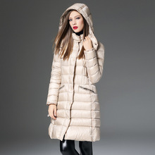 High Quality 2016 Winter Jacket Women Fashion Long Solid Slim Thick Full Sleeve Down Coat White Duck Down Warm Jacket Plus Size